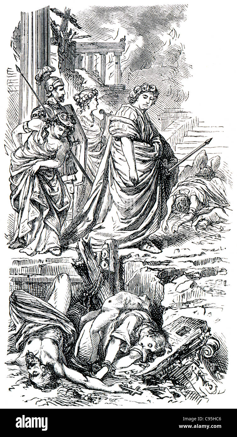 Old engravings. Shows the emperor Nero. The book 'History of the Church', 1880 - Stock Image