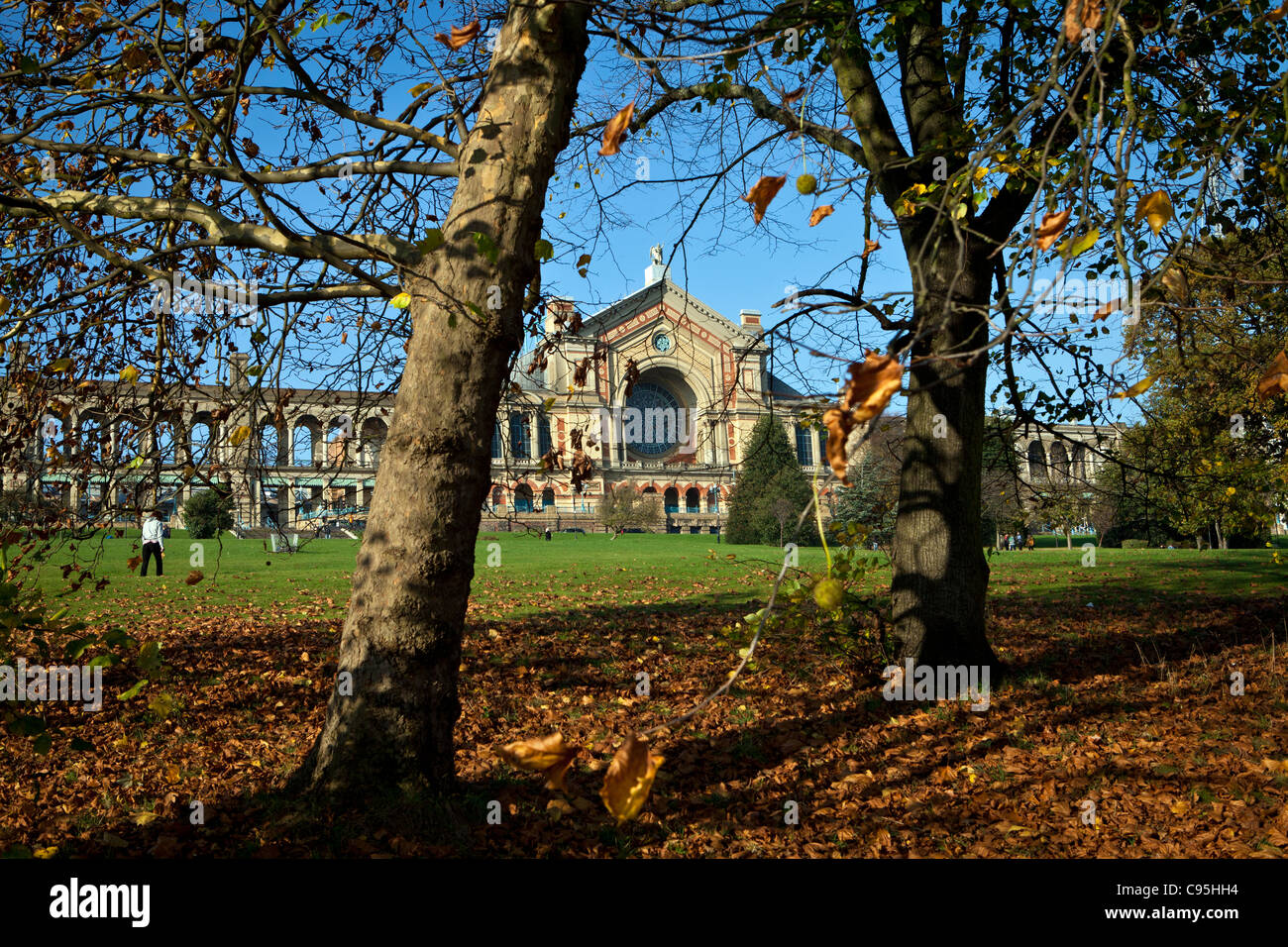 Alexandra Palace seen through Autumn trees - Stock Image
