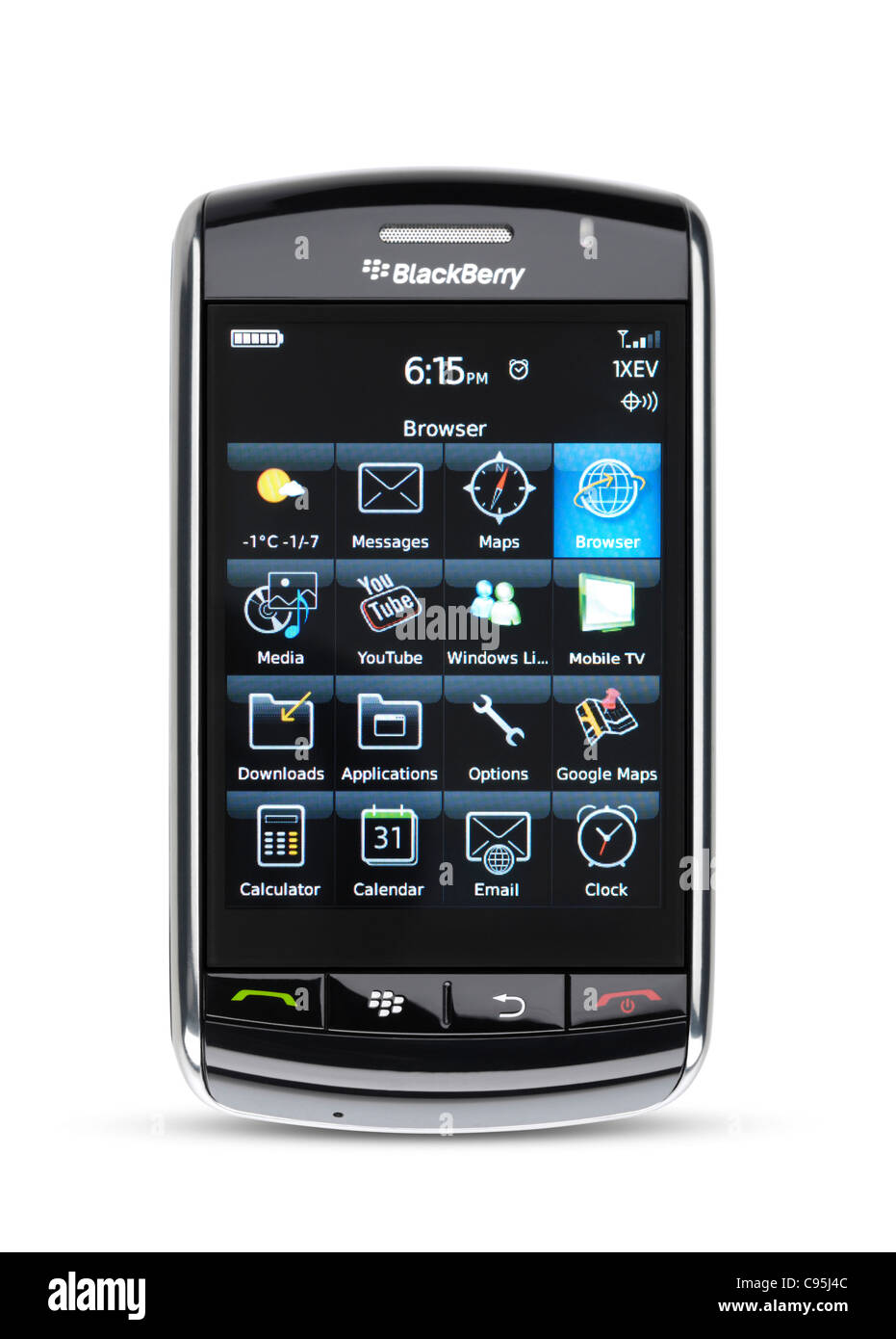 Blackberry Storm 9530 touch screen smartphone with illuminated display  isolated on white background with clipping -
