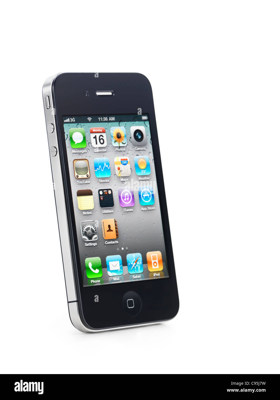 Apple iPhone 4 smartphone with desktop icons on its display isolated on white background - Stock Image