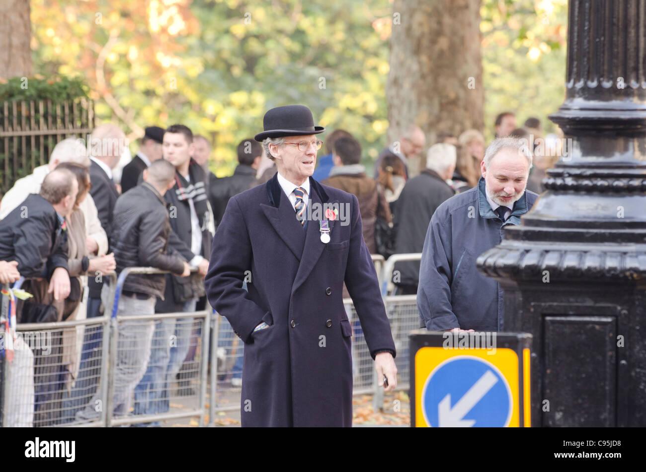 f8d48d99ecc Old Soldier wearing bowler hat at Remembrance Sunday London 2011 War  veteran Uk - Stock Image
