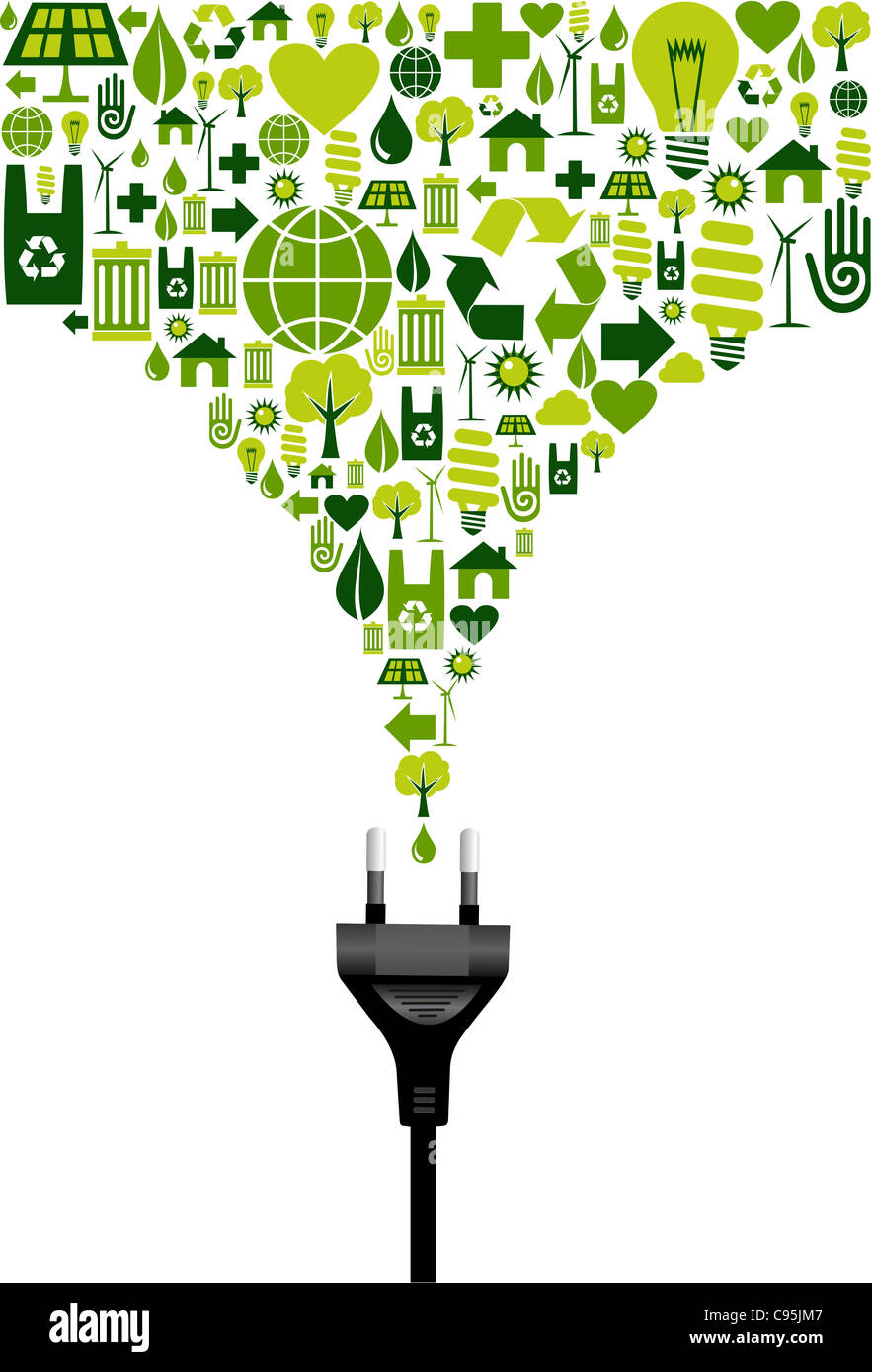 Environmental icons set splash in green from electric power plug wire on white background. Vector file available. - Stock Image