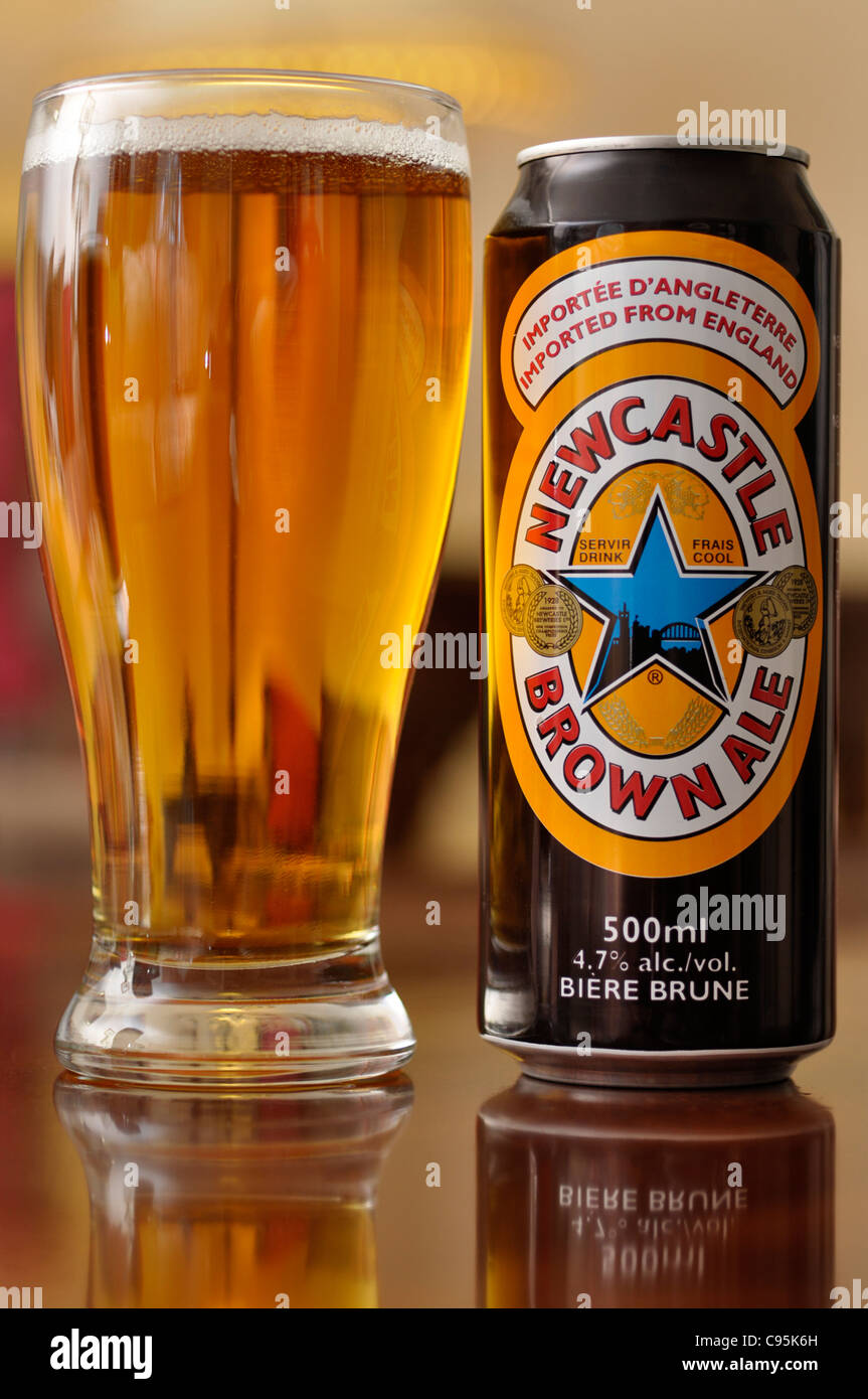 Beer Can and Glass - Stock Image
