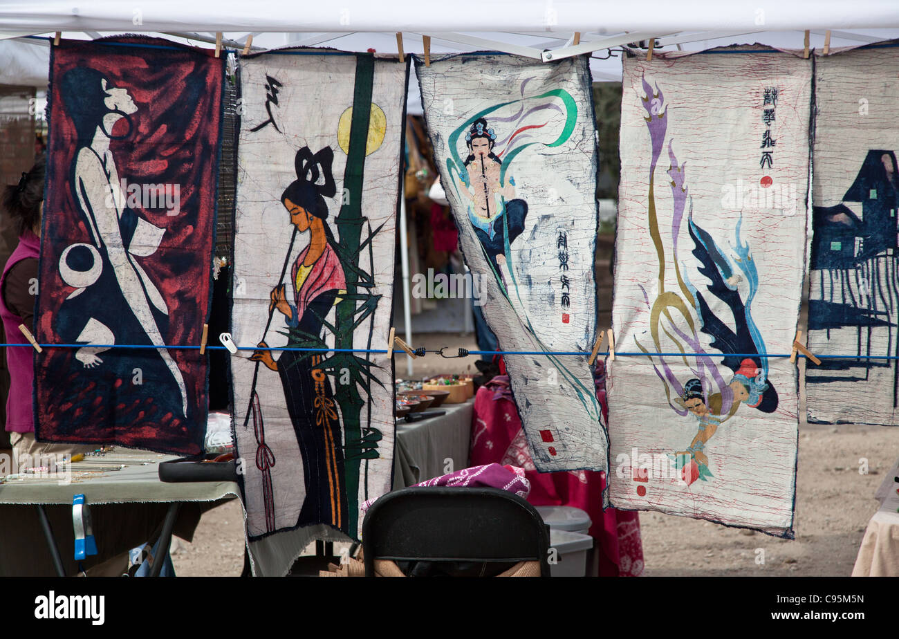 Asian art silk screens in a marketplace in Austin, Texas Stock Photo