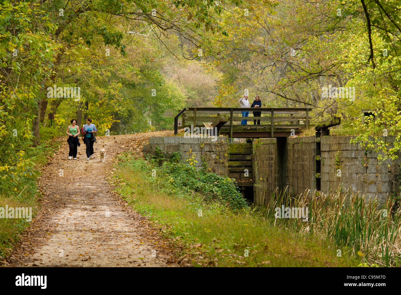 C&O Canal National Historical Park towpath, lock 10, near Glen Echo, Maryland - Stock Image