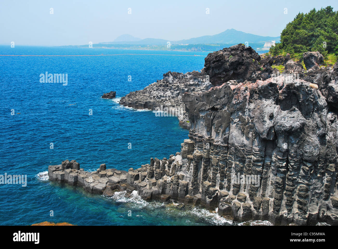 Unique rock formation formed from the forces of nature, found on Jeju island, Korea. - Stock Image