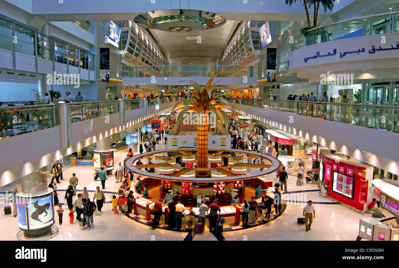 Departure hall, Dubai International Airport, Dubai, United Arab Emirates. - Stock Image