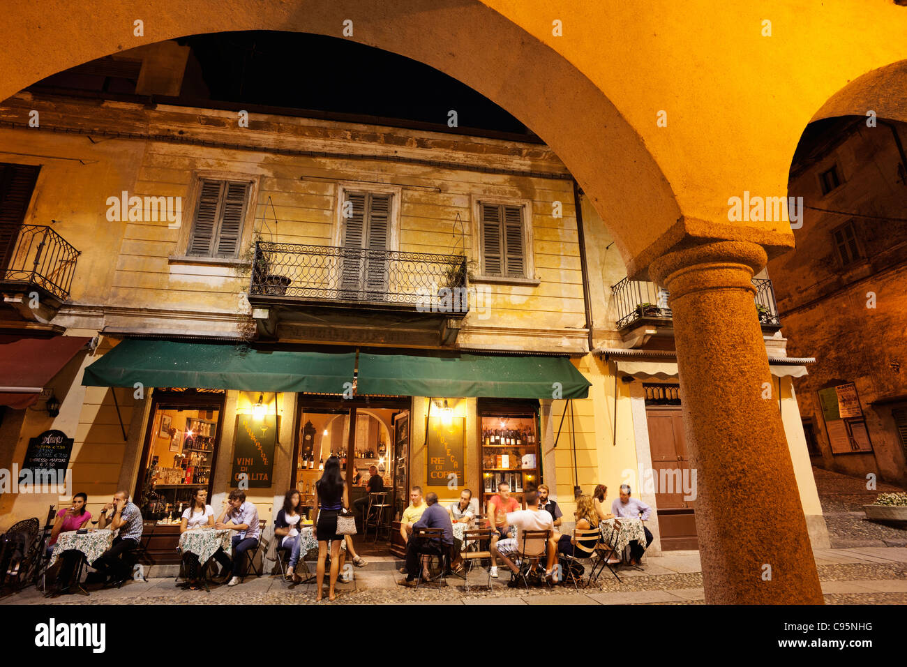 Italy, Piedmont, Lake Orta, Orta Town, Cafes in the Piazza Mario Motta - Stock Image