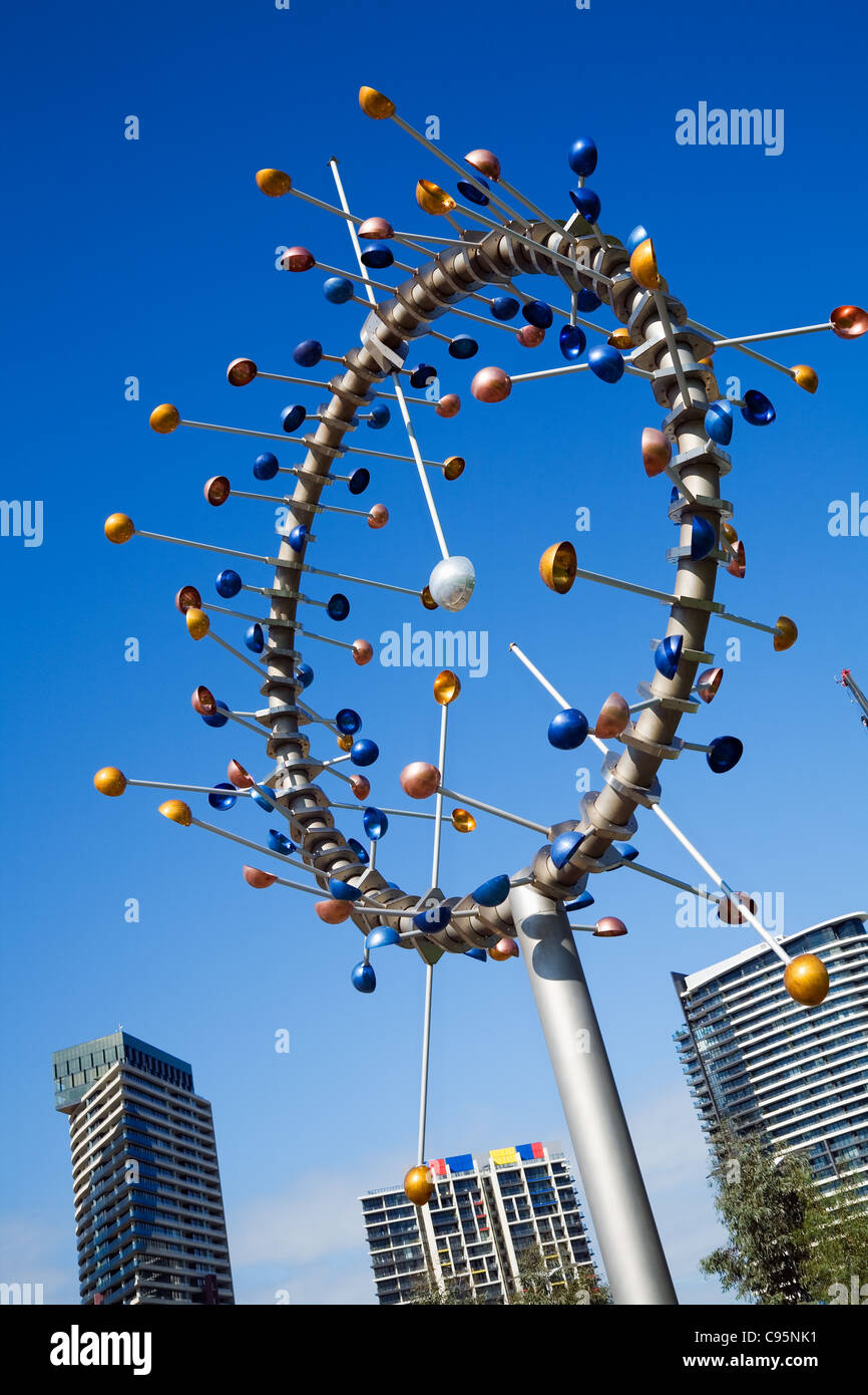 The Blowhole sculpture by Duncan Stemler, one of the modern artworks decorating the Docklands in Melbourne, Victoria, - Stock Image