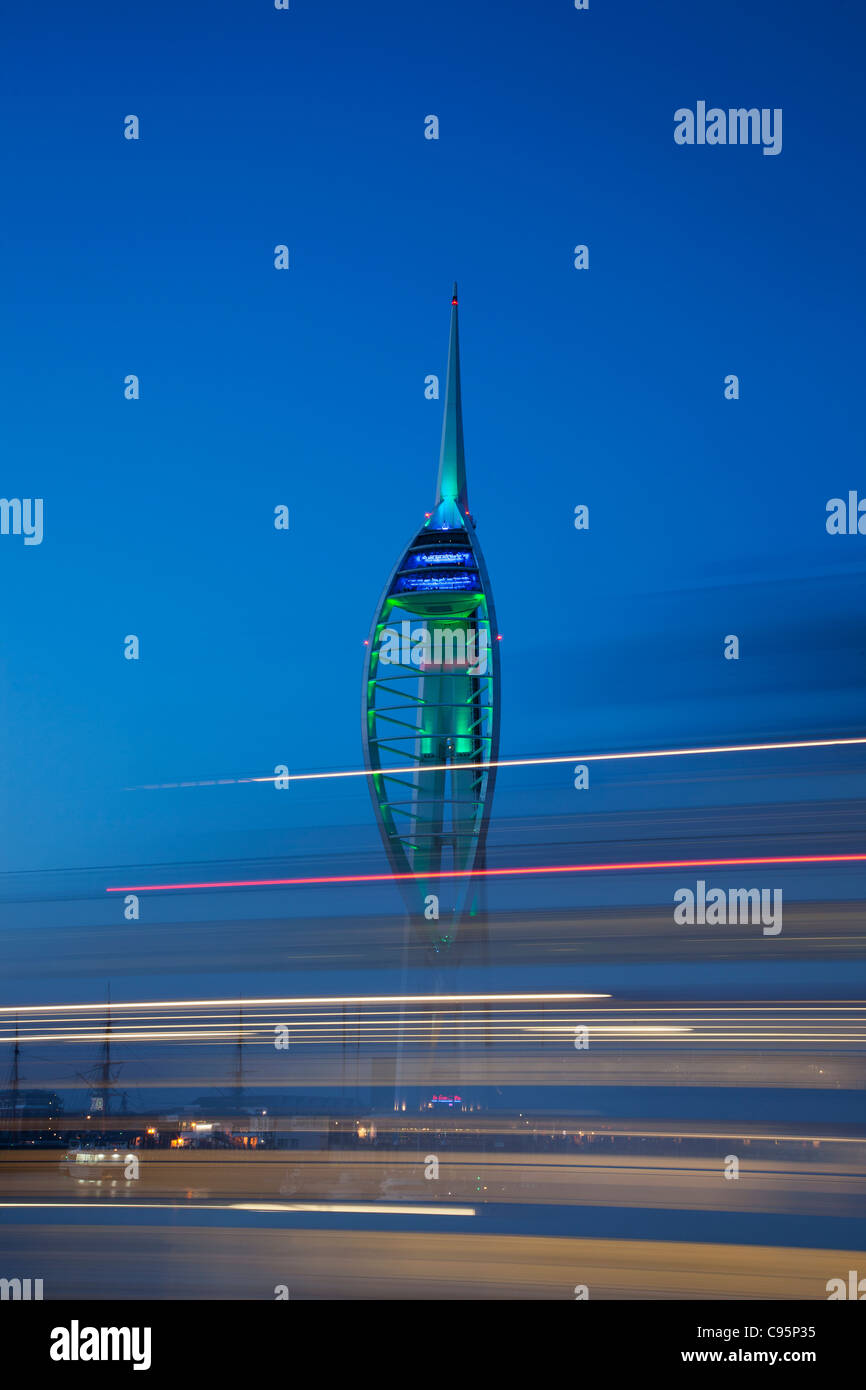 England, Hampshire, Portsmouth, Night View of Spinnaker Tower Stock Photo