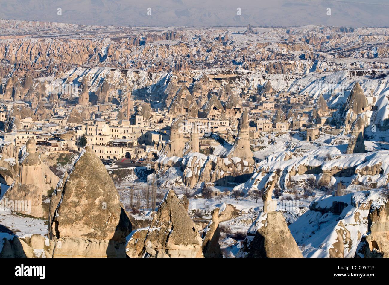 A Snowy day in Goreme,Cappadocia,Nevsehir,Turkey - Stock Image