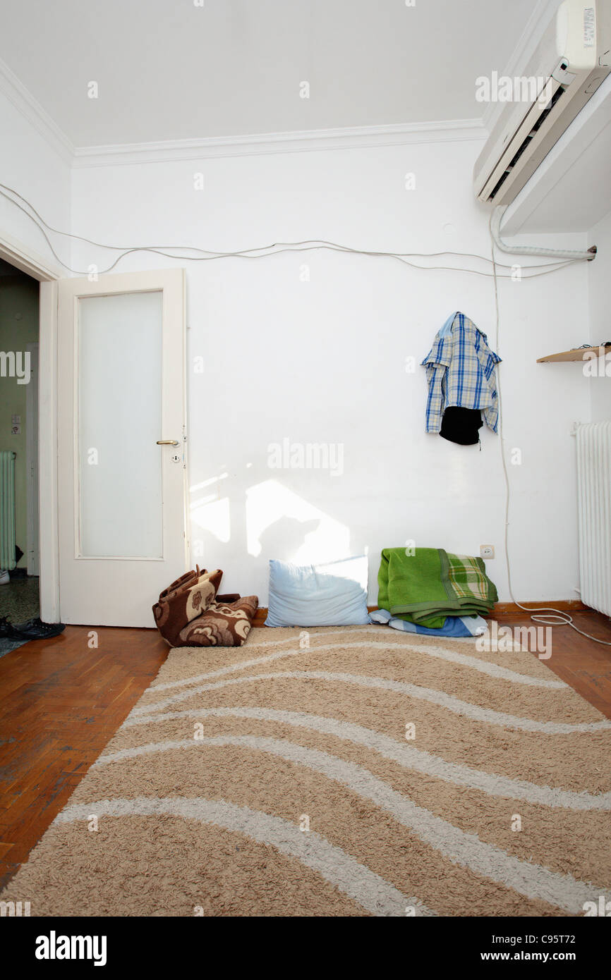 Afghan refugee home in Athens, Greece. - Stock Image