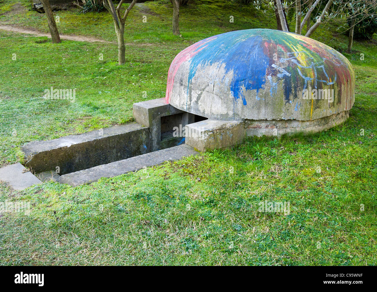 Defensive bunker or bomb shelter, Tirana, Albania.  Thousands of bunkers were built during the rule of Enver Hoxha. - Stock Image