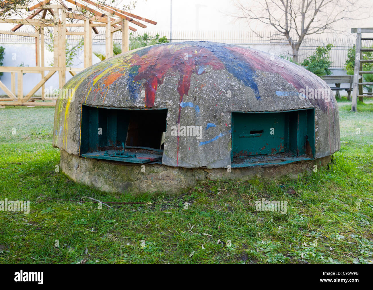 Defensive bunker or bomb shelter, Tirana, Albania.  Thousands of bunkers were built during the rule of Enver Hoxha. Stock Photo