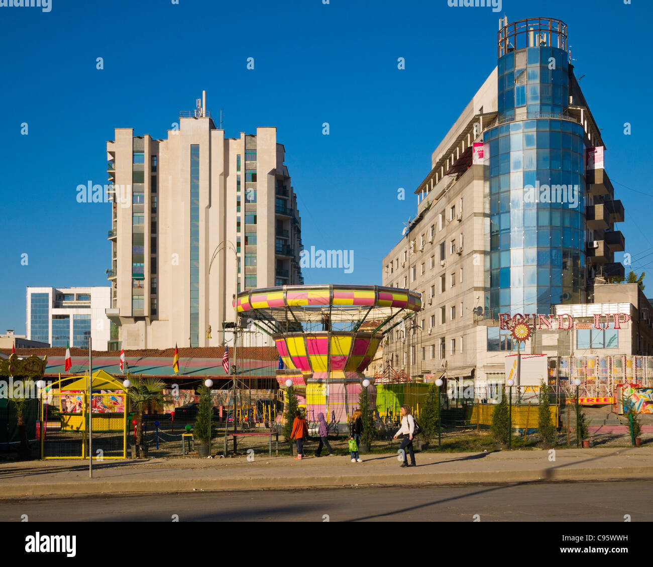 Urban funfair in Tirana, Albania - Stock Image