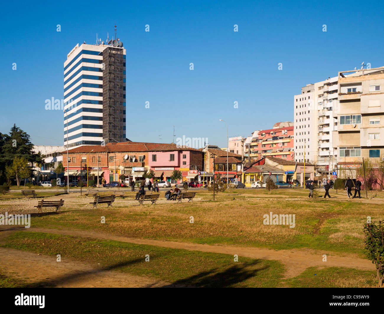 Community park and Tirana International Hotel, Tirana, Albania - Stock Image