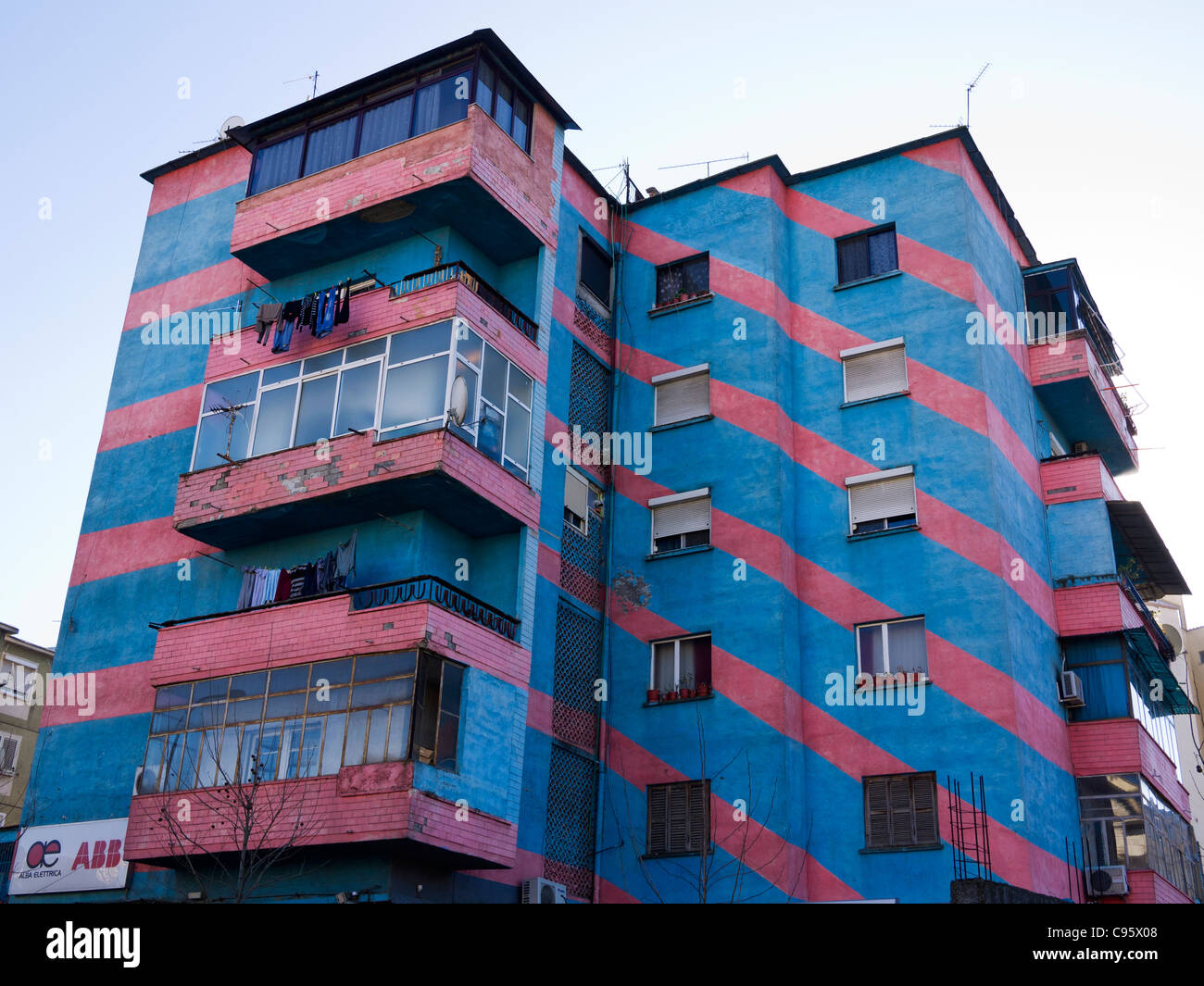 Brightly painted buildings in Tirana, Albania. - Stock Image