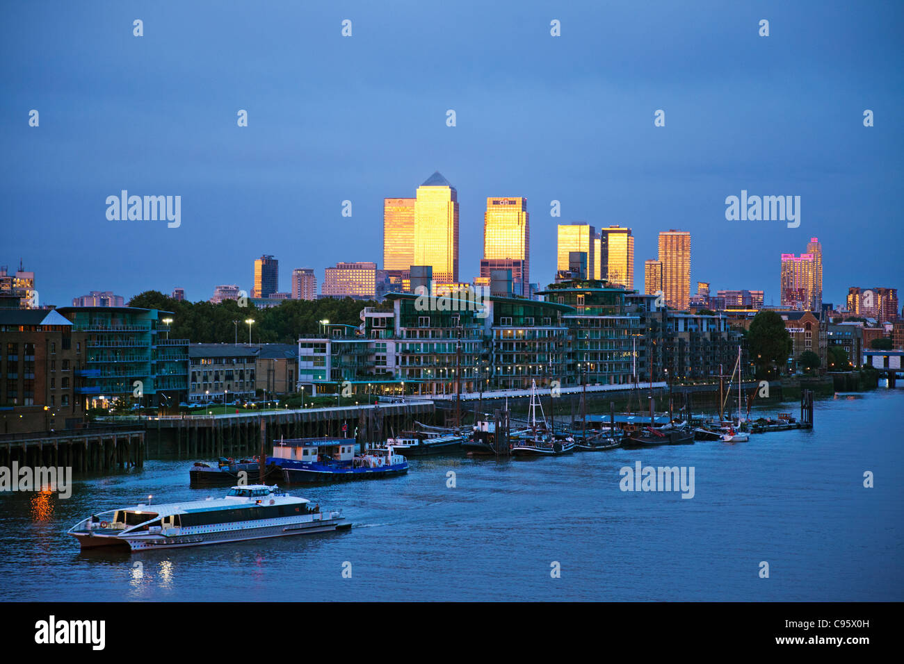 England, London, Docklands Skyline and River Thames - Stock Image
