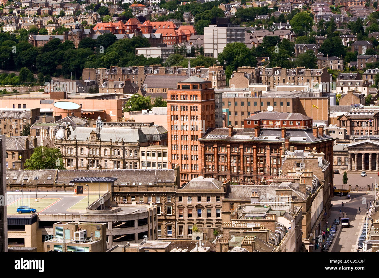 Ariel landscape view of modern and old buildings in Dundee,UK - Stock Image