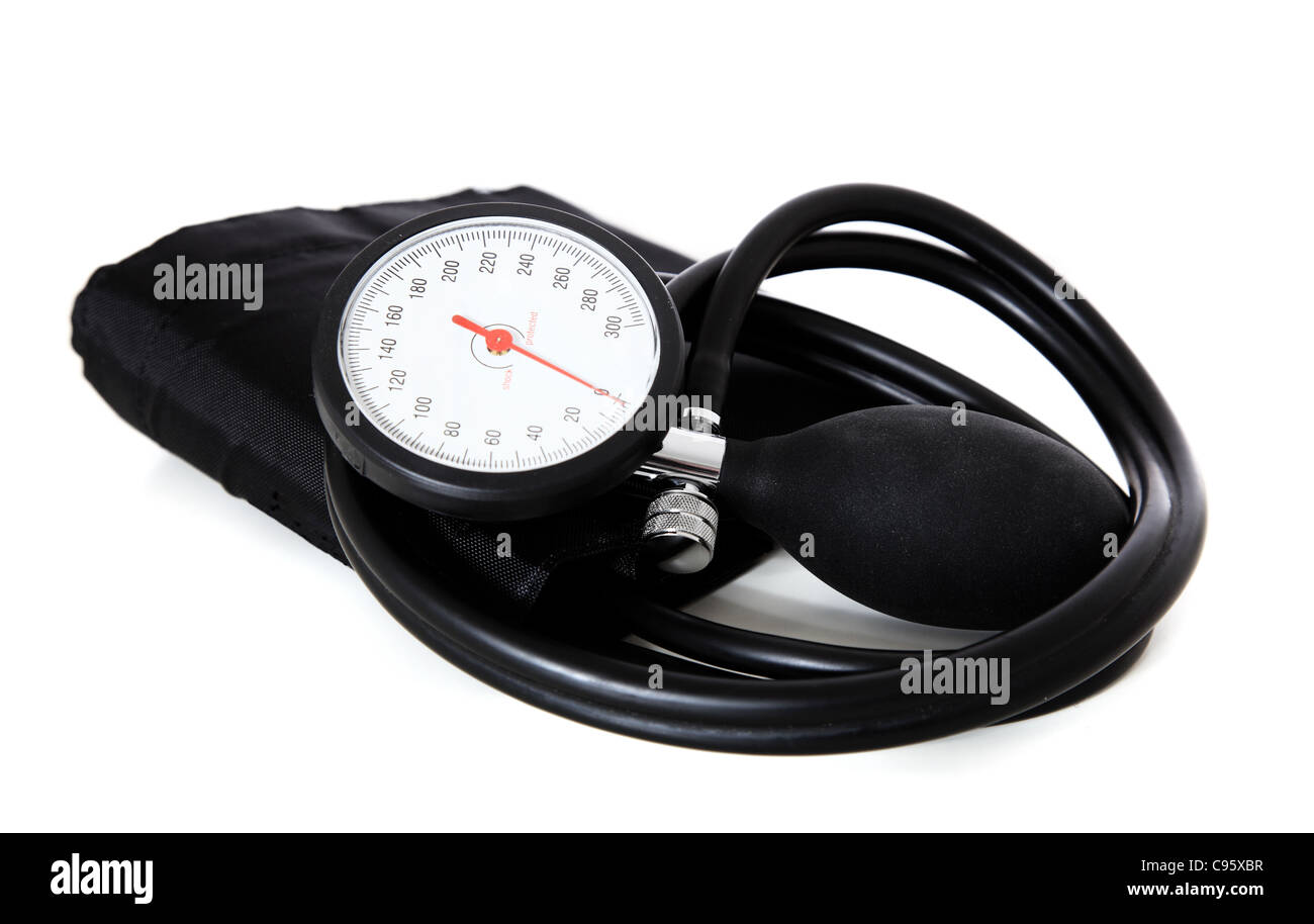 A single sphygmomanometer, isolated on white background. - Stock Image