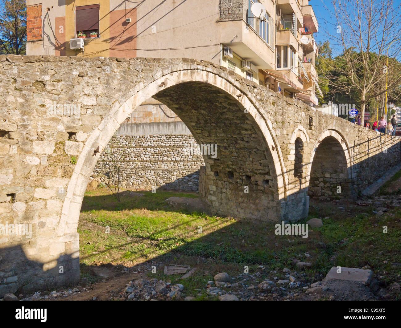 Ottoman period stone arch Tanner's Bridge, Tirana, Albania. - Stock Image