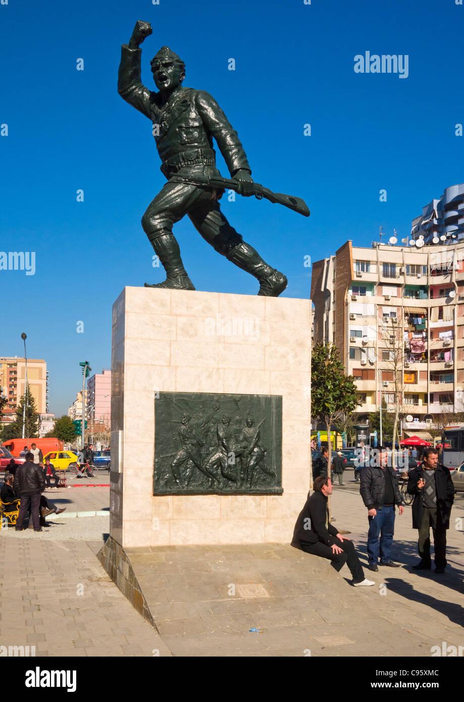 Unknown Soldier monument and statue in Sulejman Pasha Square, Tirana, Albania. - Stock Image