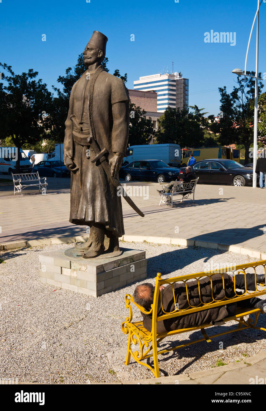 Statue of Sulejman Pashë Bargjini, legendary founder of Tirana, capital of Albania. - Stock Image