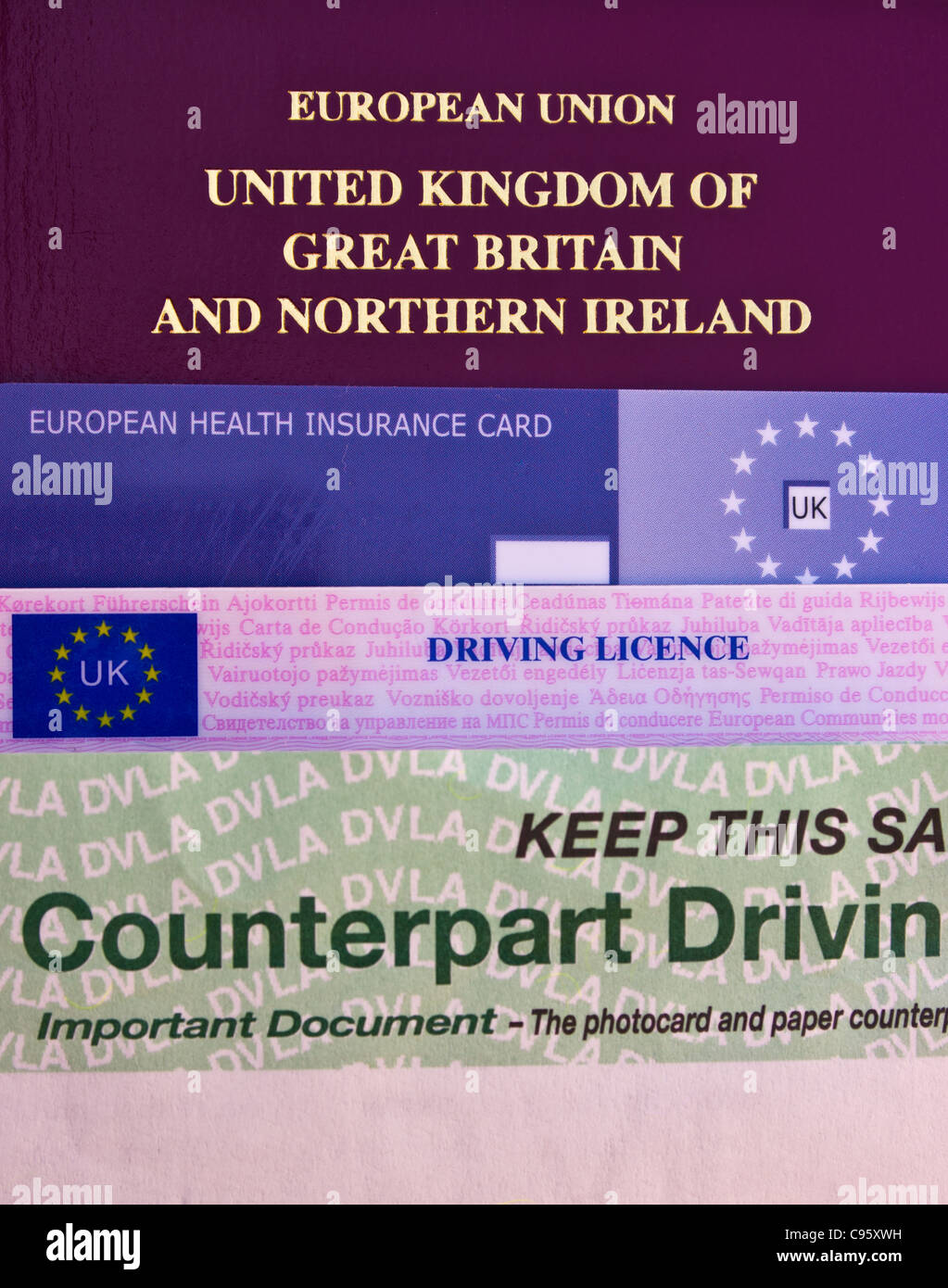 Passport, Health Insurance Card and Driving License. Stock Photo