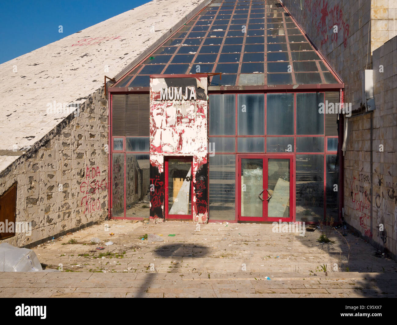 The pyramid building, Albanian International Centre of Culture, in Tirana, Albania, is in a state of disrepair. - Stock Image