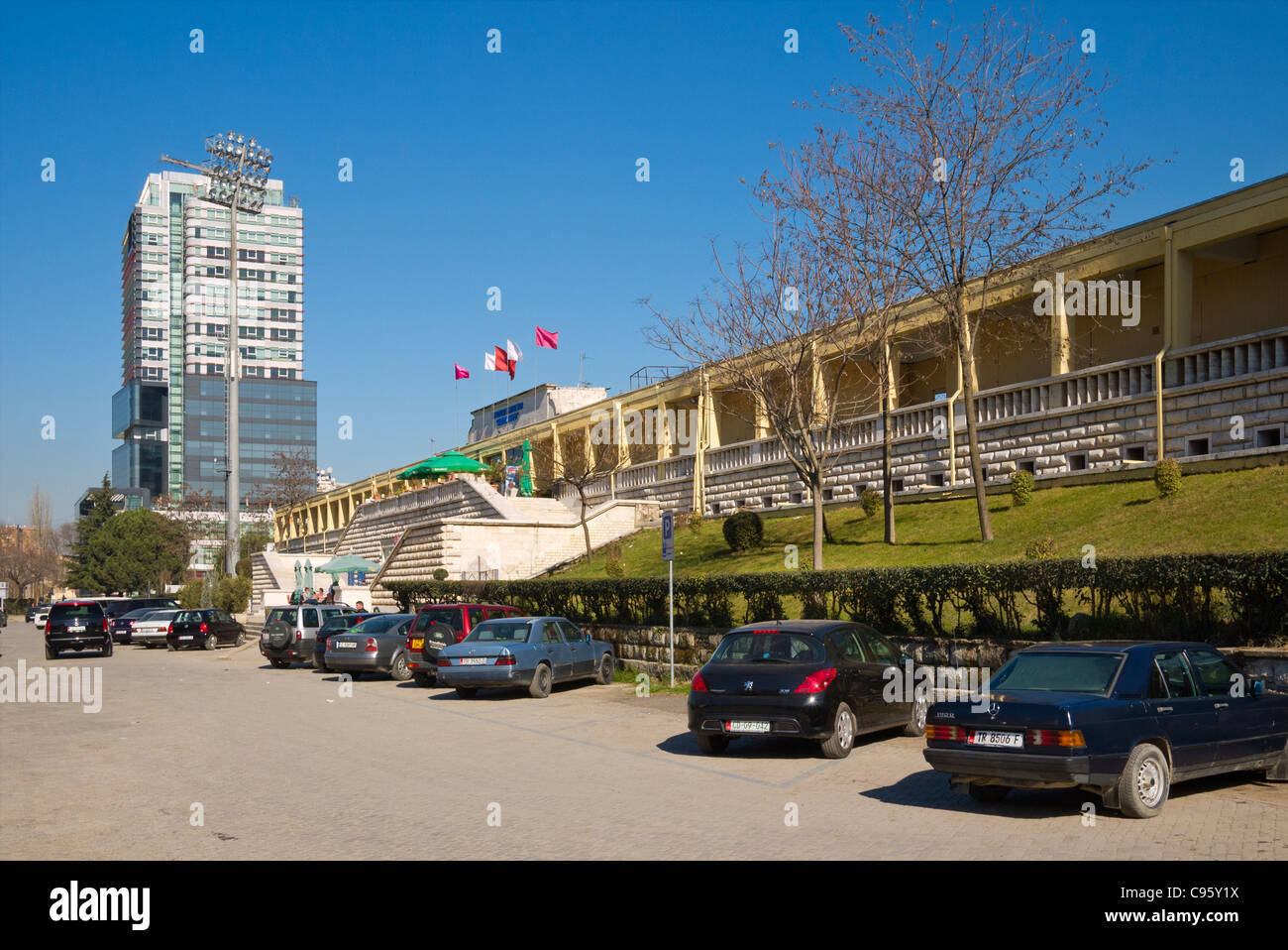 Street outside Qemal Stafa national stadium, in Tirana, Albania.  Stadium was demolished in 2016 to be replaced - Stock Image