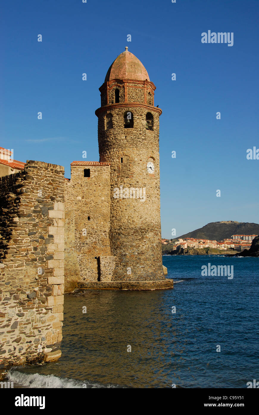 Bell tower Notre-Dame-des-Anges, landmark church of Collioure at the Côte Vermeille of Pyrénées-Orientales in Roussillon, Stock Photo
