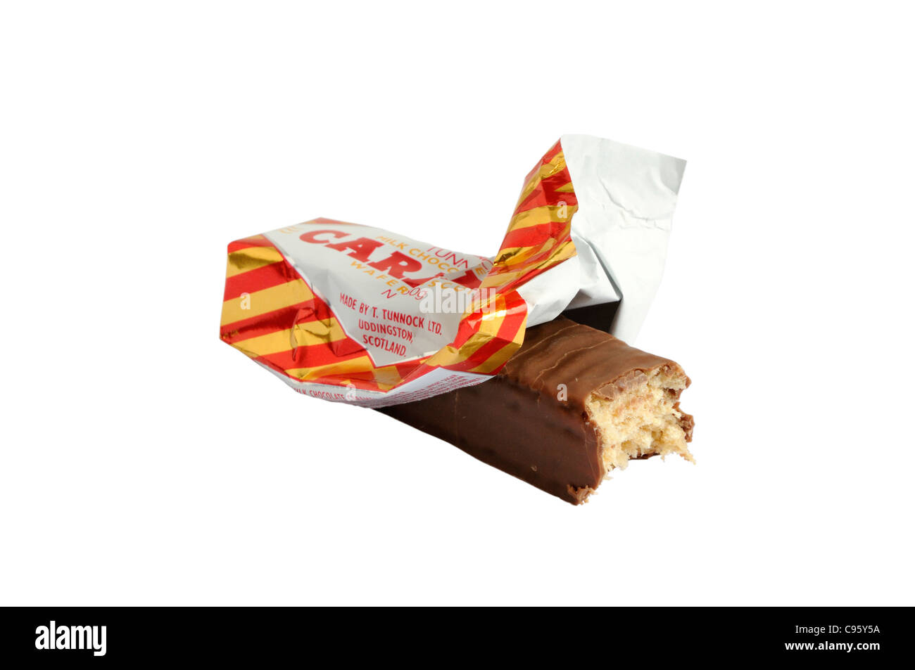 A bite off a Tunnock's caramel wafer biscuit - Stock Image
