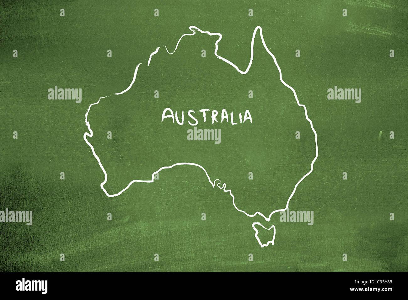 Australia on a blackboard - Stock Image