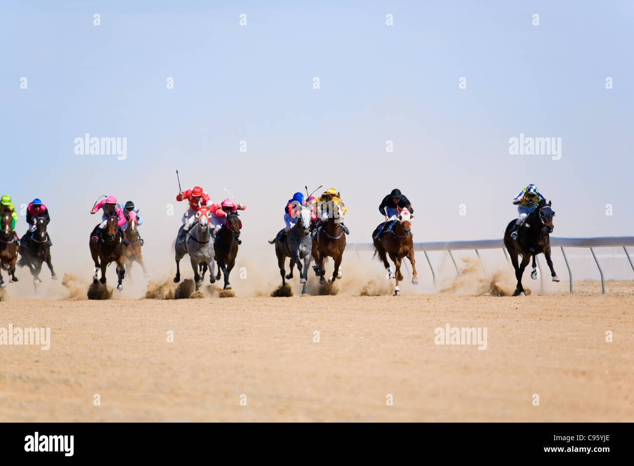 Horse racing in the Australian outback, at the annual Birdsville Cup races. - Stock Image