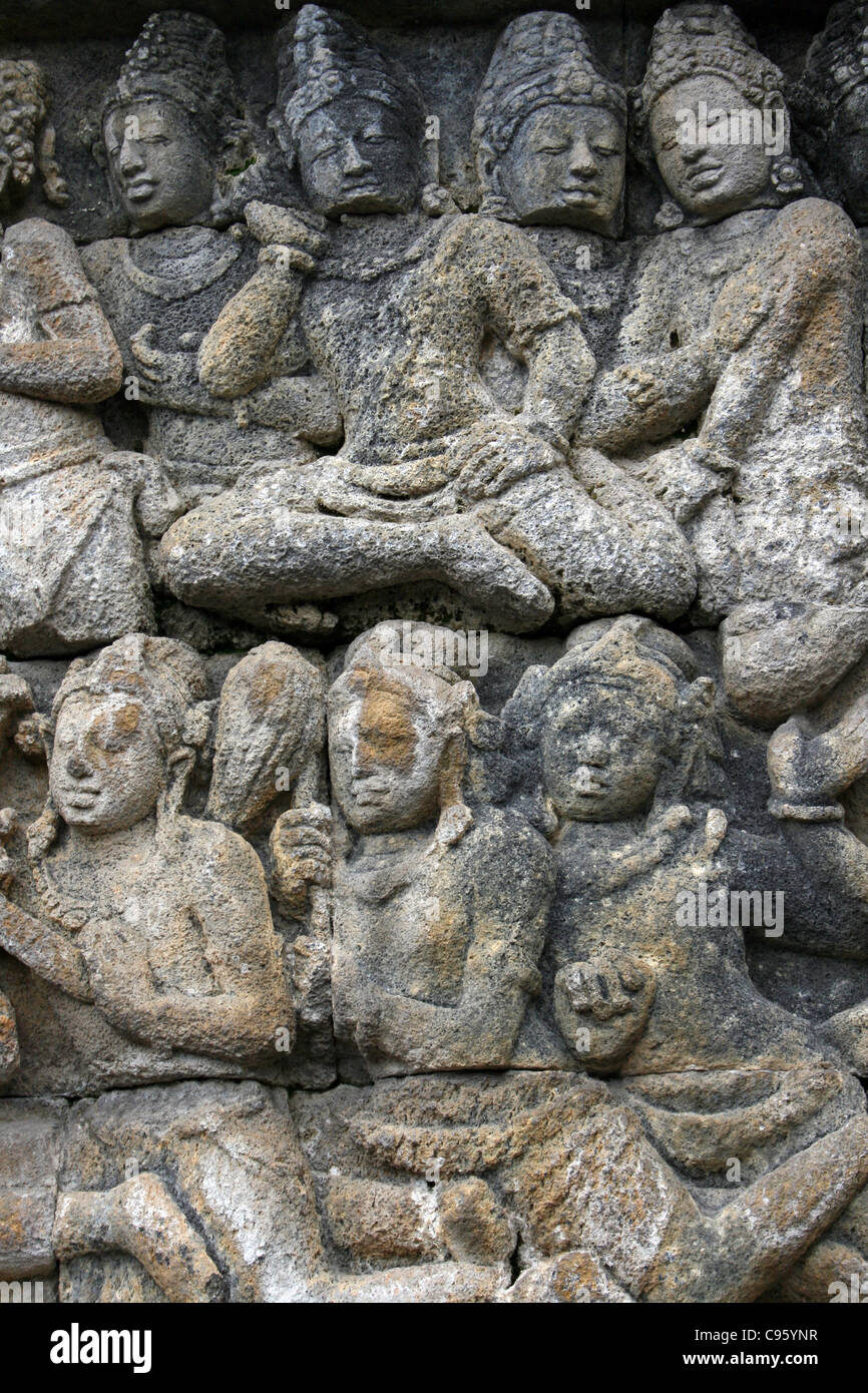 Stone bas relief carving borobudur temple java stock