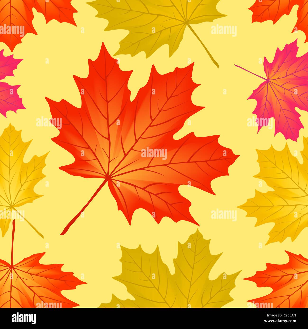 Seamless pattern autumn maple leaves. - Stock Image