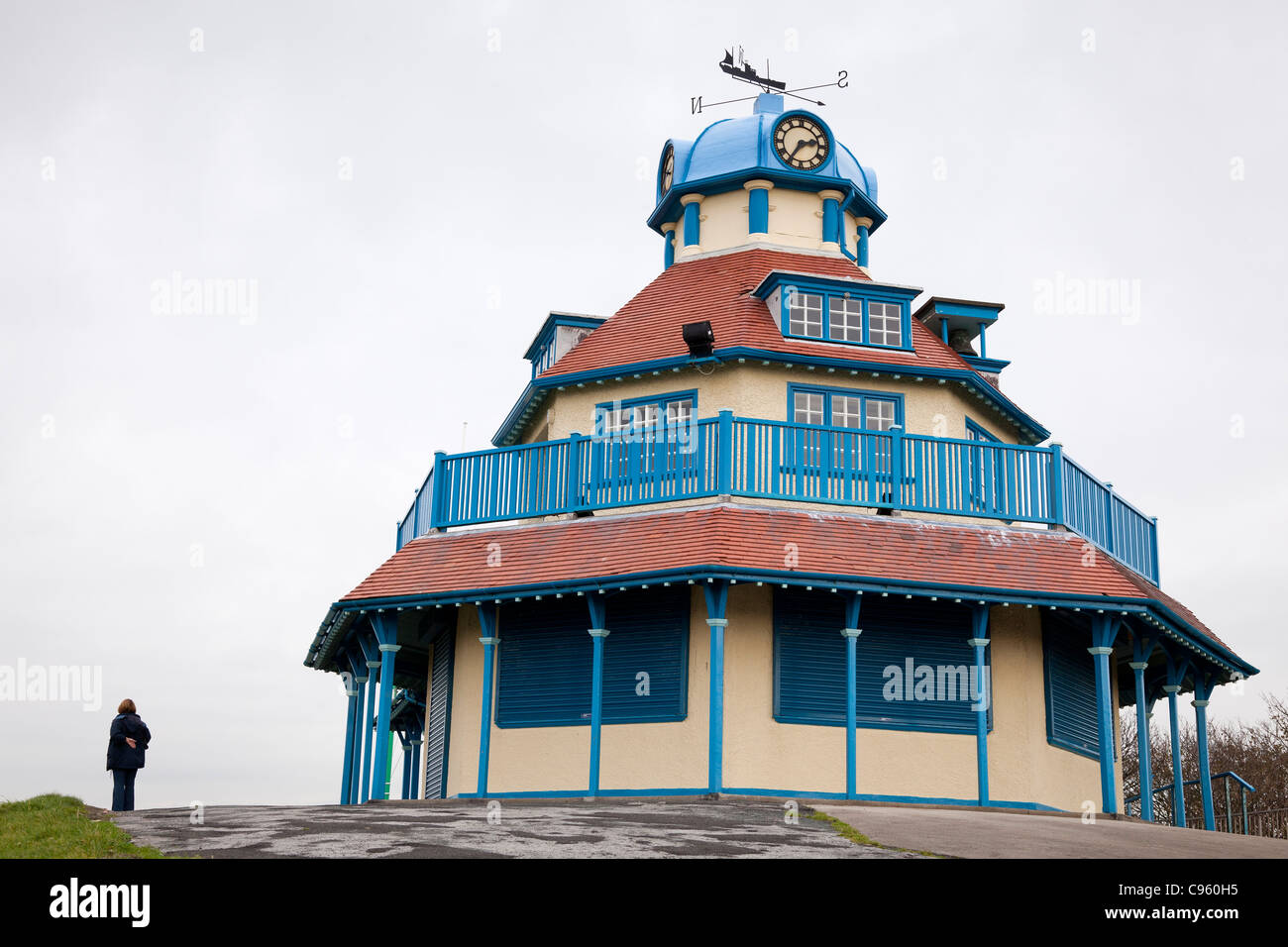 The summerhouse in Mount Park Fleetwood with a novel windvane in the form of a trawler. - Stock Image