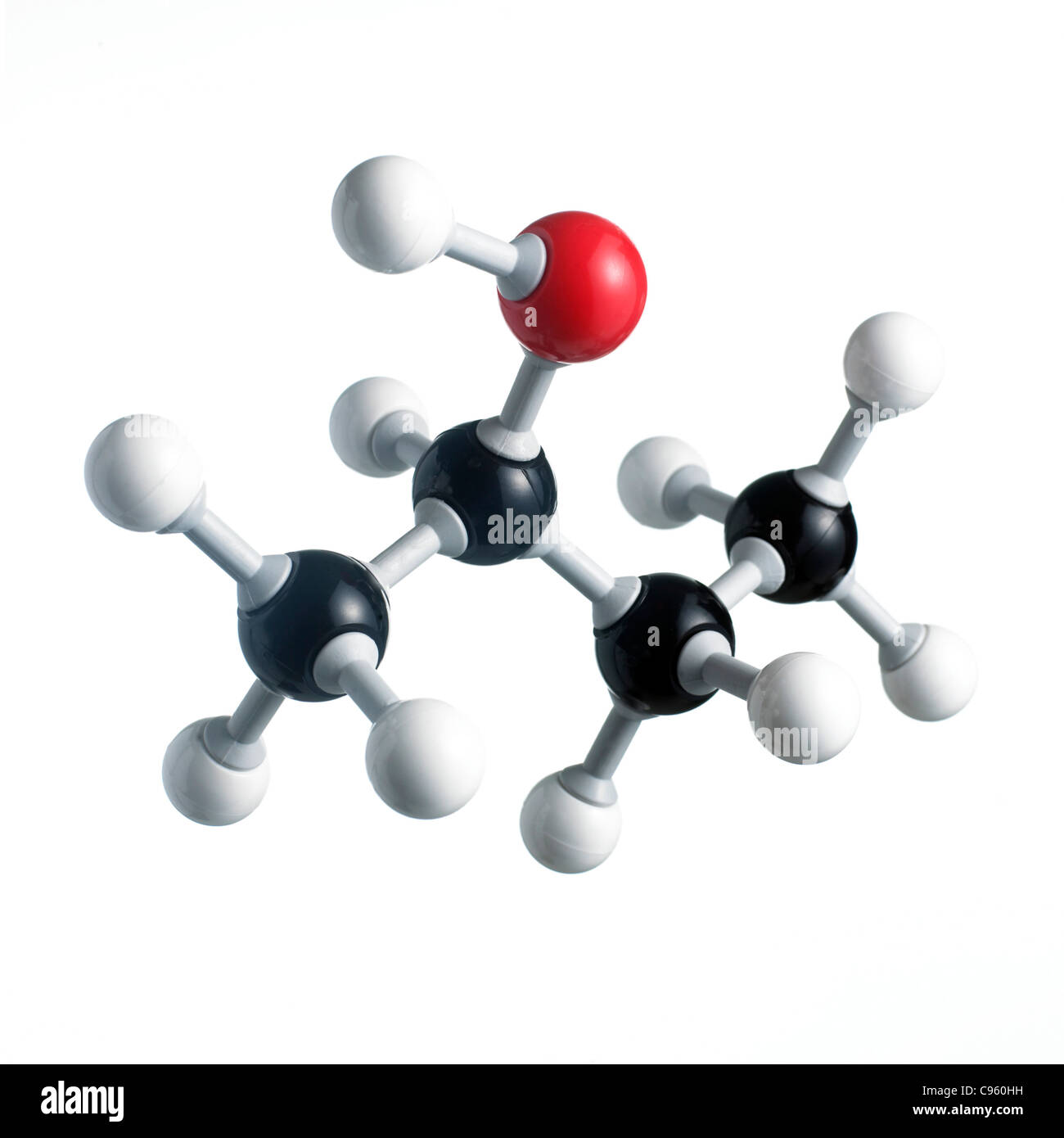 Sec-butanol molecule. Atoms are represented as spheres and are colour-coded: carbon (black)  hydrogen (white) and - Stock Image