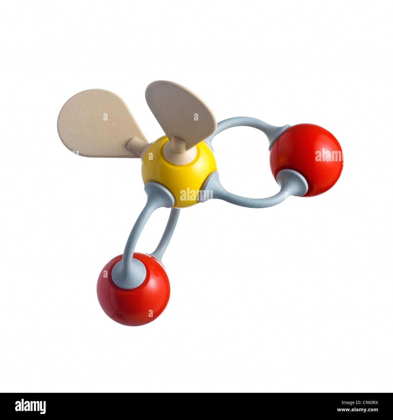 Sulphur dioxide molecule - Stock Image
