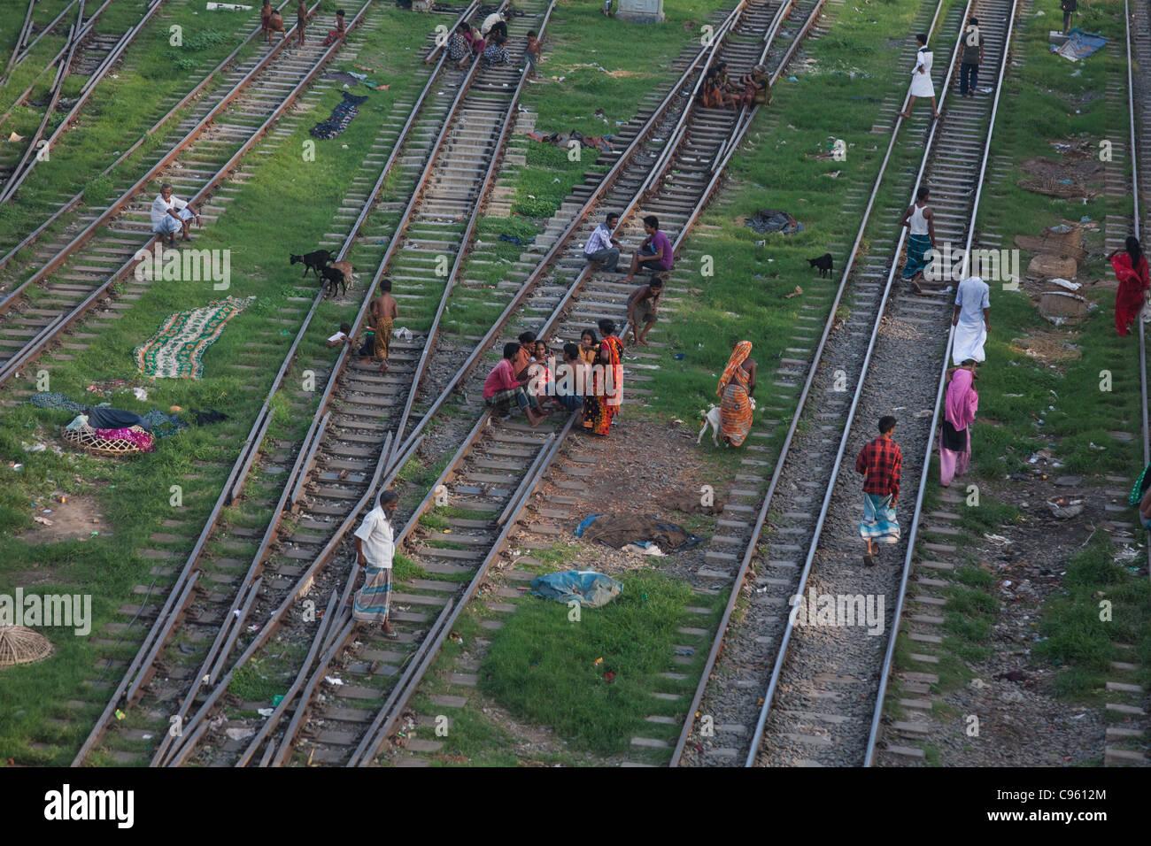 Life in Tejgaon slum in Dhaka  The slum is build along the train