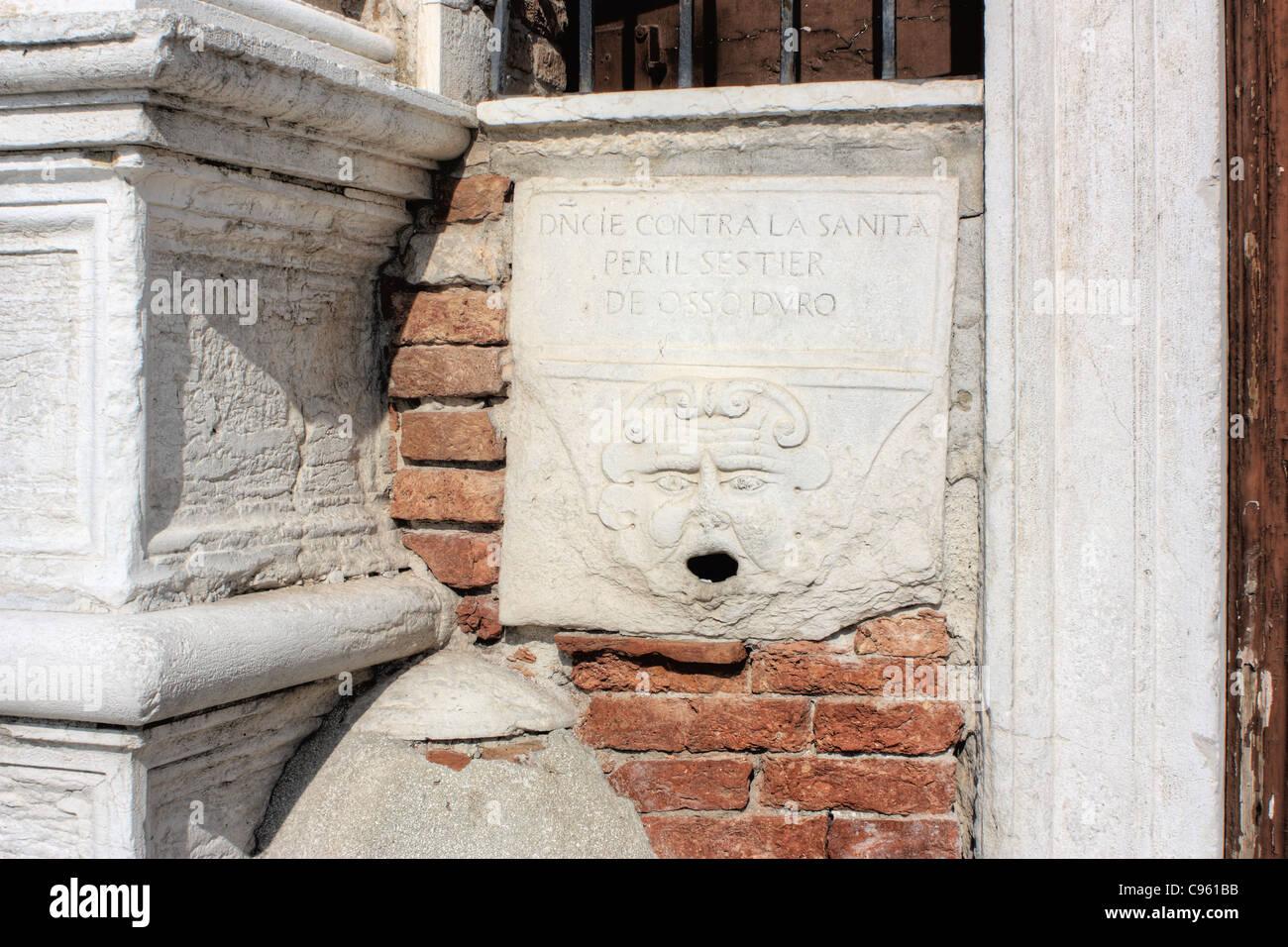 Bocca di leone (Lion's Mouth), 15th century denunciation box, Venice. Stock Photo