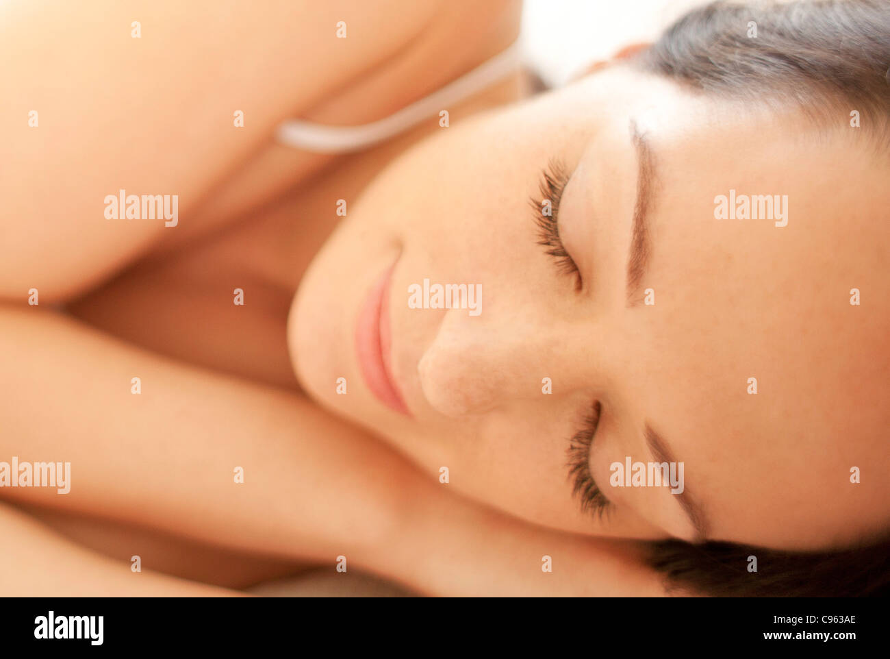Woman sleeping close-up. - Stock Image