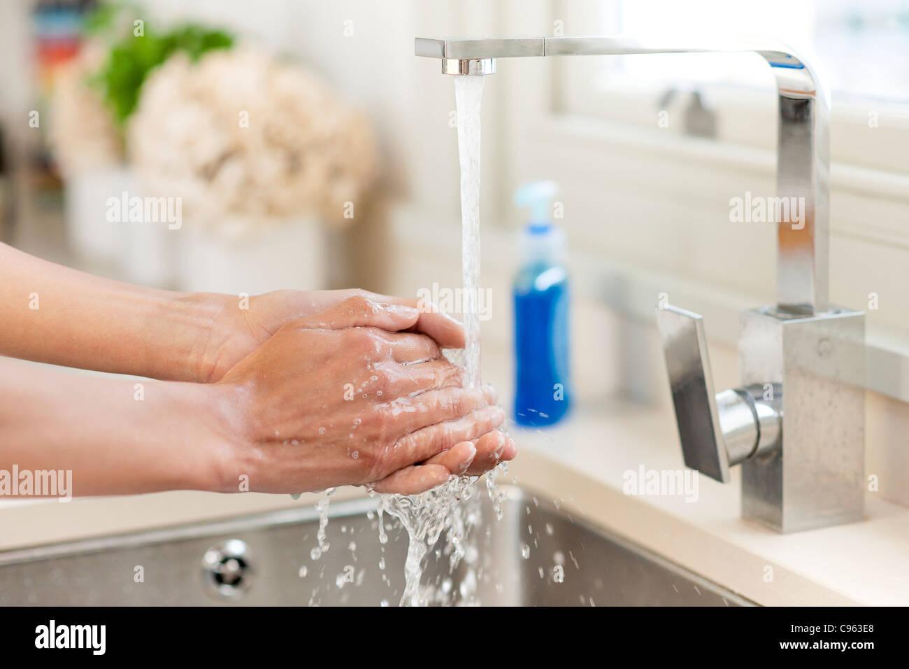 Washing hands. - Stock Image