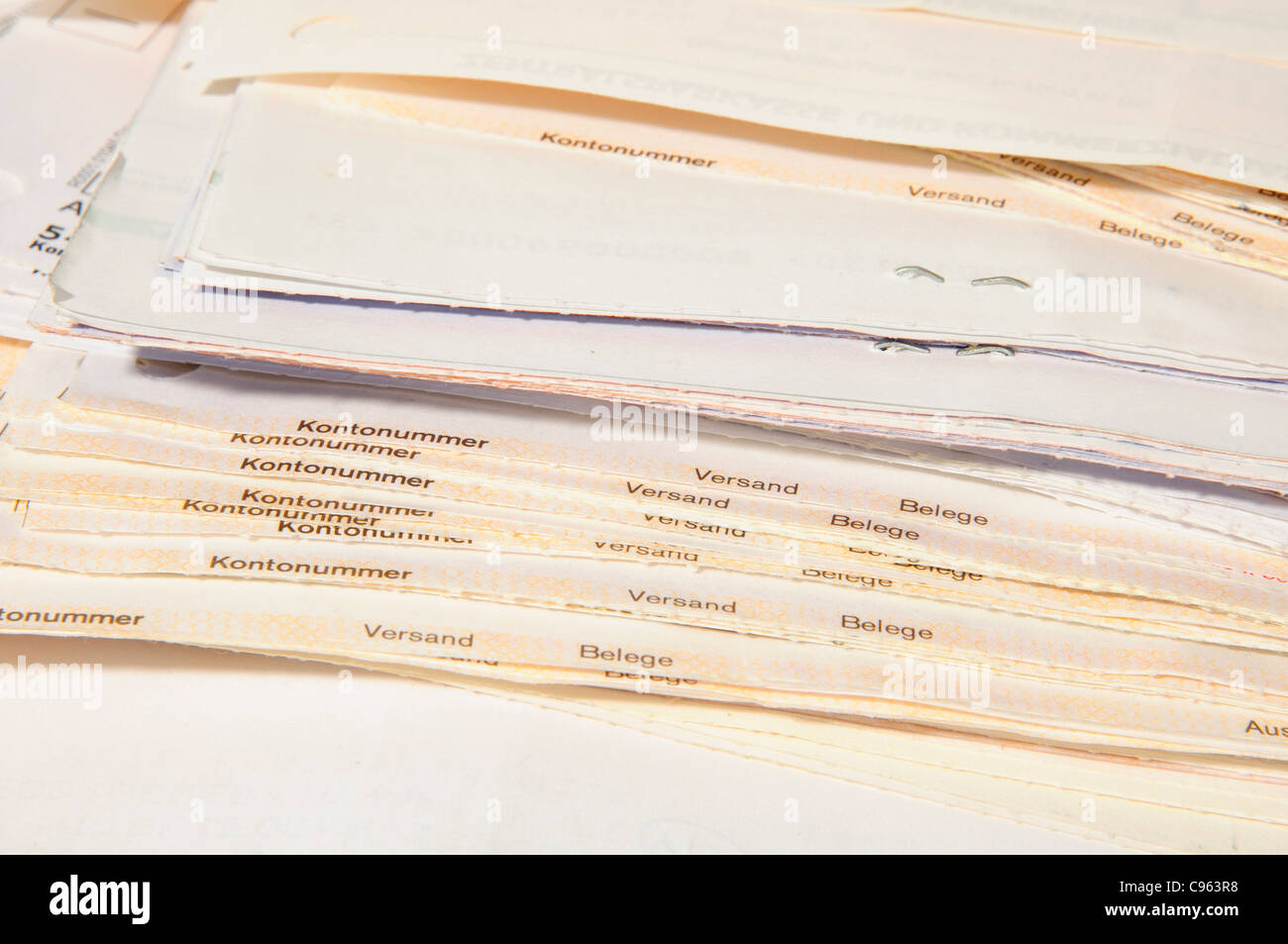 Bank account statements documents - Stock Image
