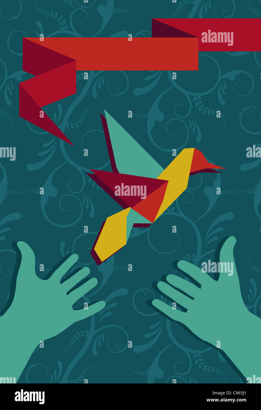 Origami hummingbird greeting card and protective hands in portrait composition. Vector file available. - Stock Image