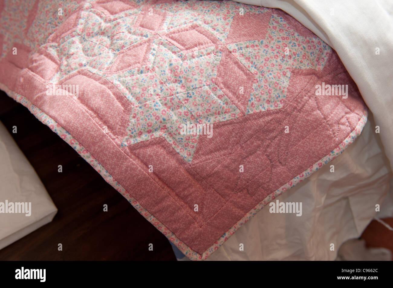 Handmade quilt - Stock Image