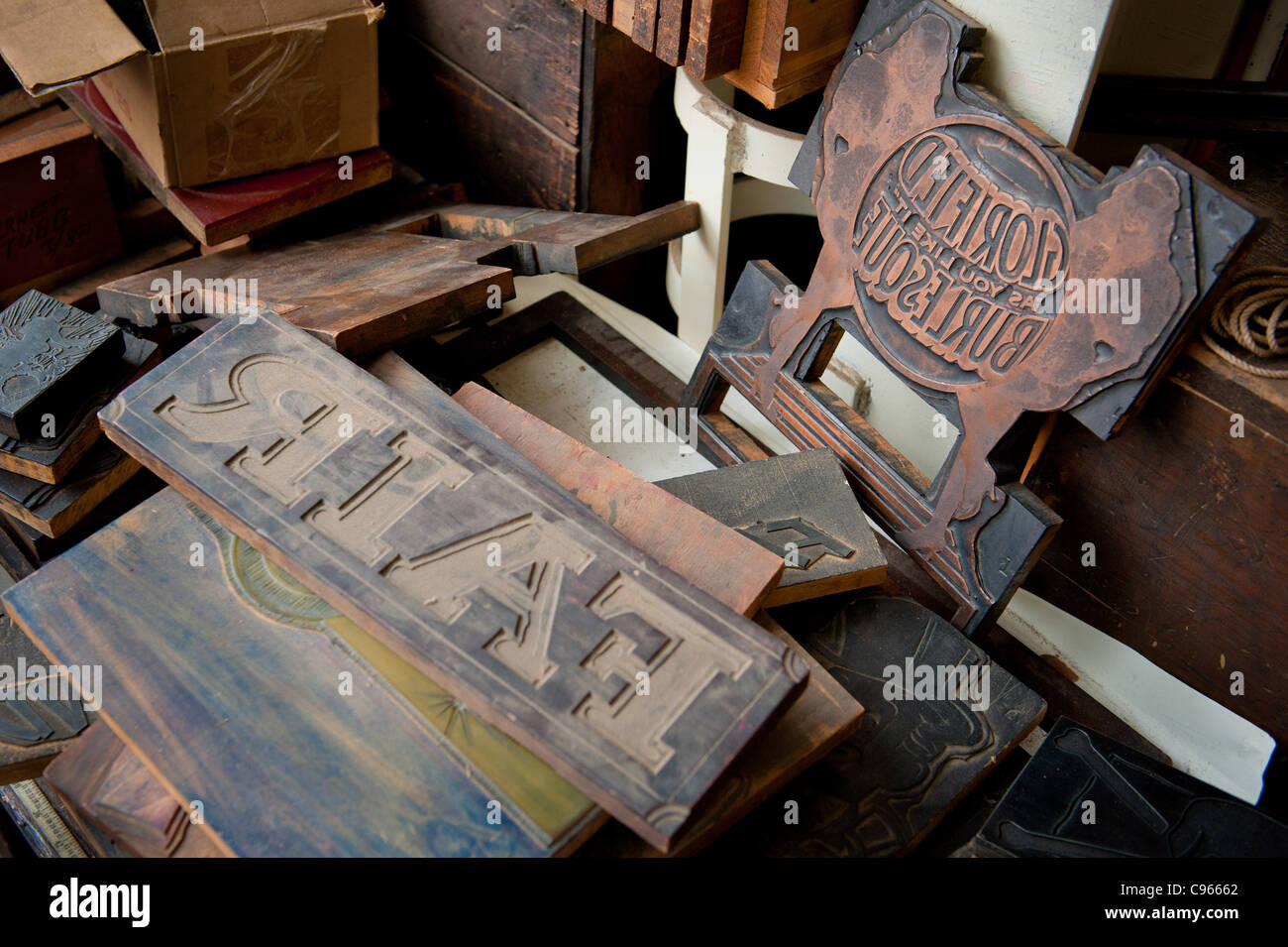 Print blocks for graphic art prints  - Stock Image