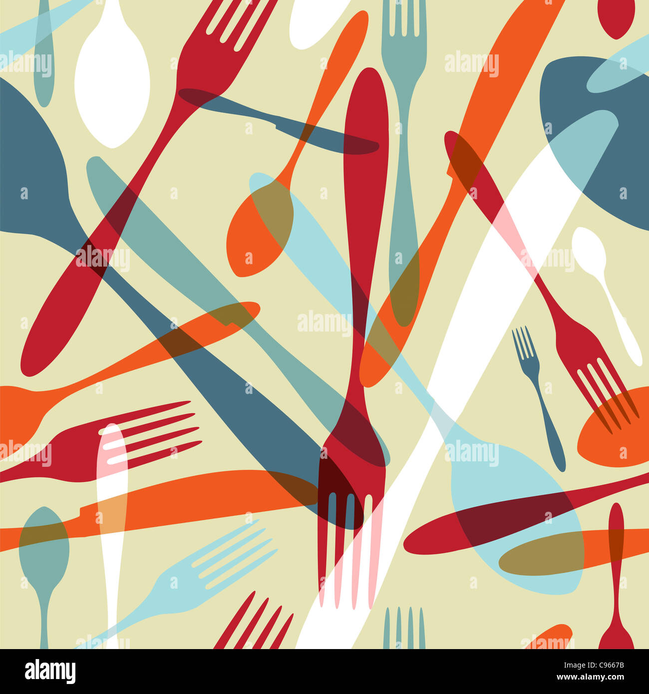 Transparency silverware icons seamless pattern background. Fork, knife and spoon silhouettes on different sizes and colors. Vector file avaliable. Stock Photo
