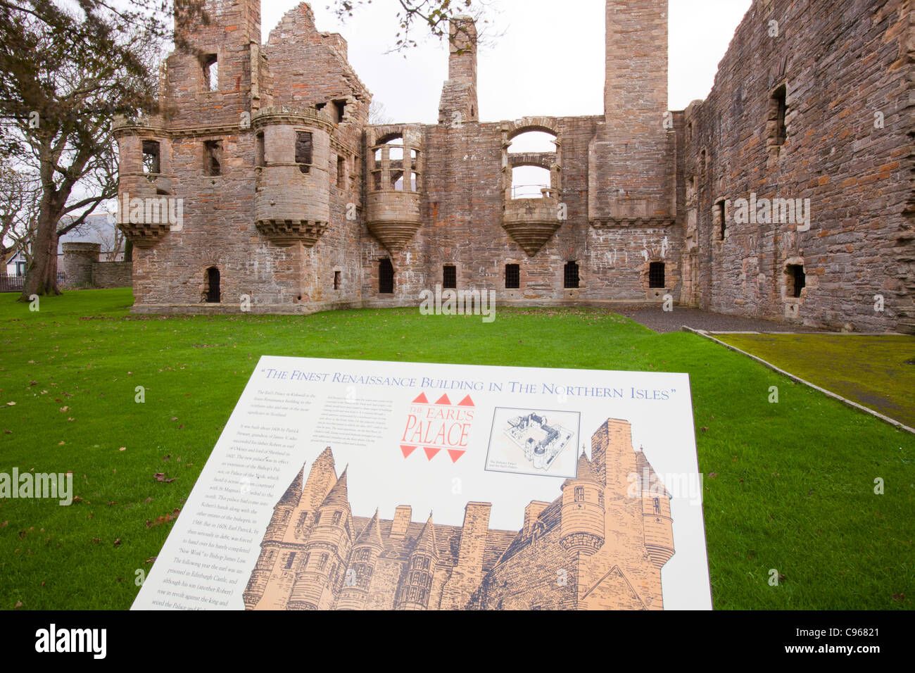 The Earls Palace in Kirkwall, Orkney, UK, was built in 1606 and is the finest Renaissance building in the northern - Stock Image