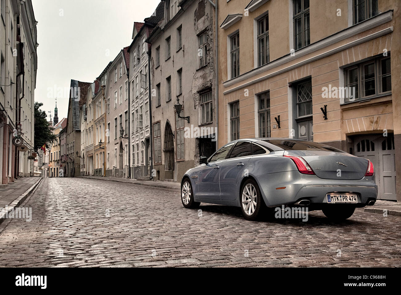 Jaguar XJ in the Old Town Tallinn Estonia - Stock Image